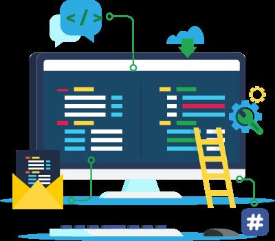 Illustration ordinateur pour développement web