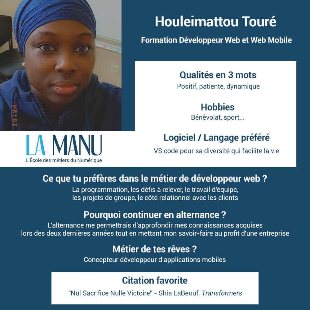Alternance developpeur web Houleimattou Touré Le Havre