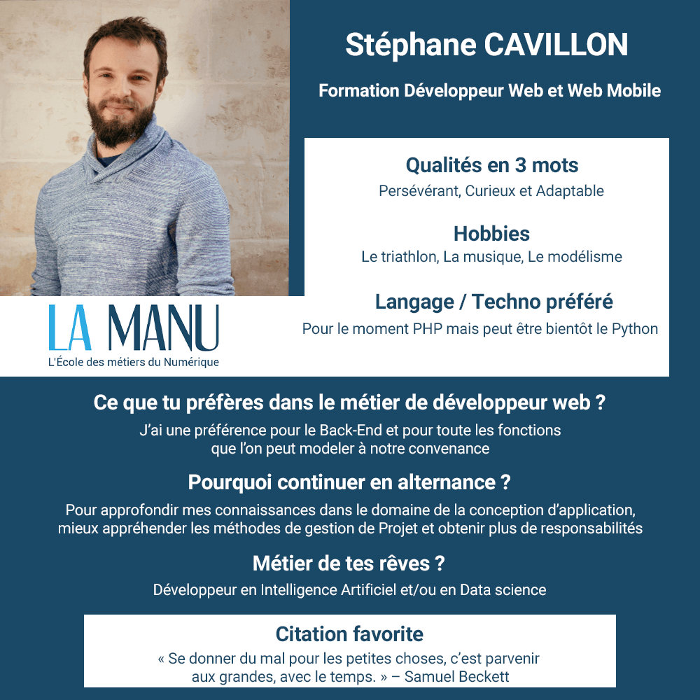 Stéphane Cavillon alternance developpeur web concepteur applications