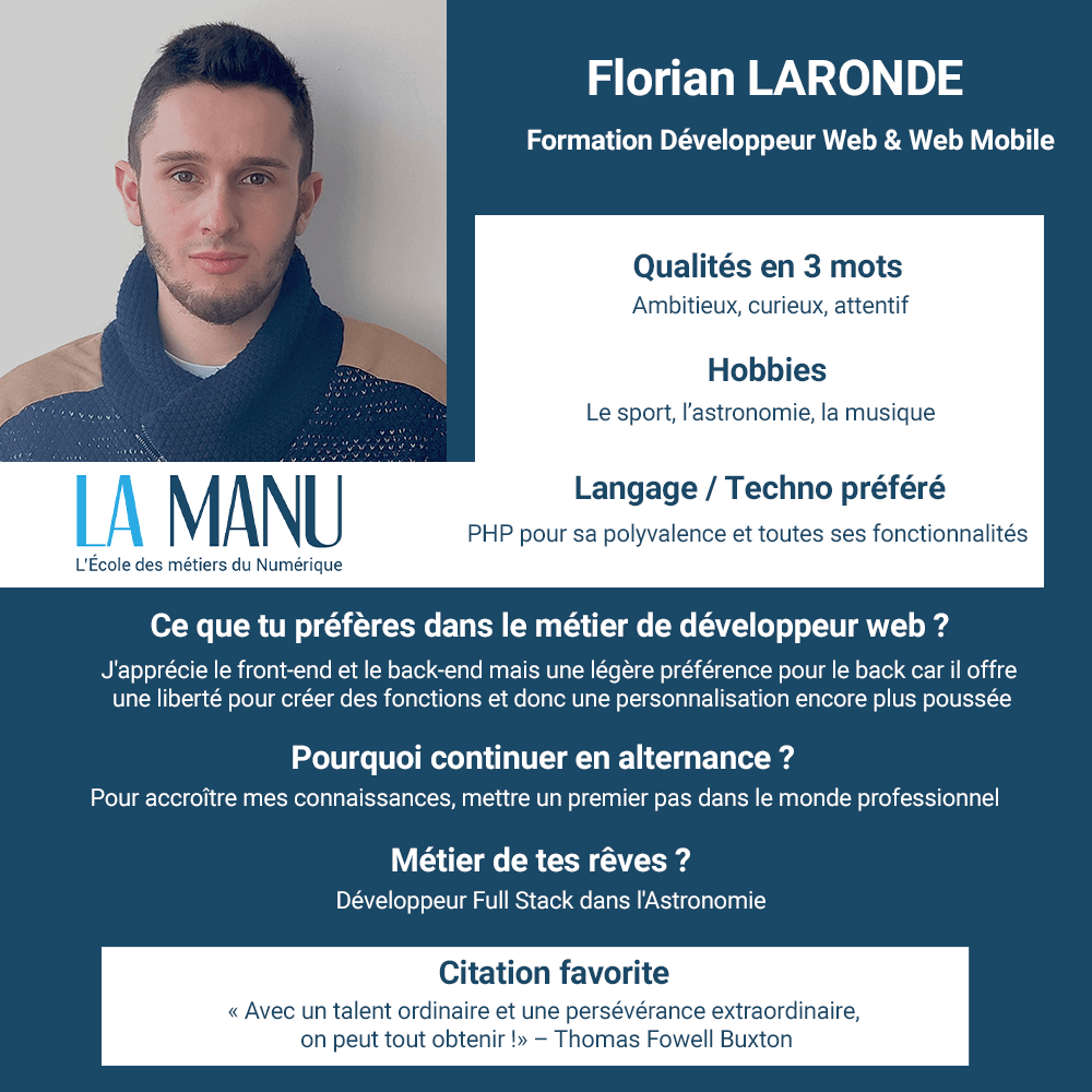 Florian Laronde developpeur web et mobile alternance
