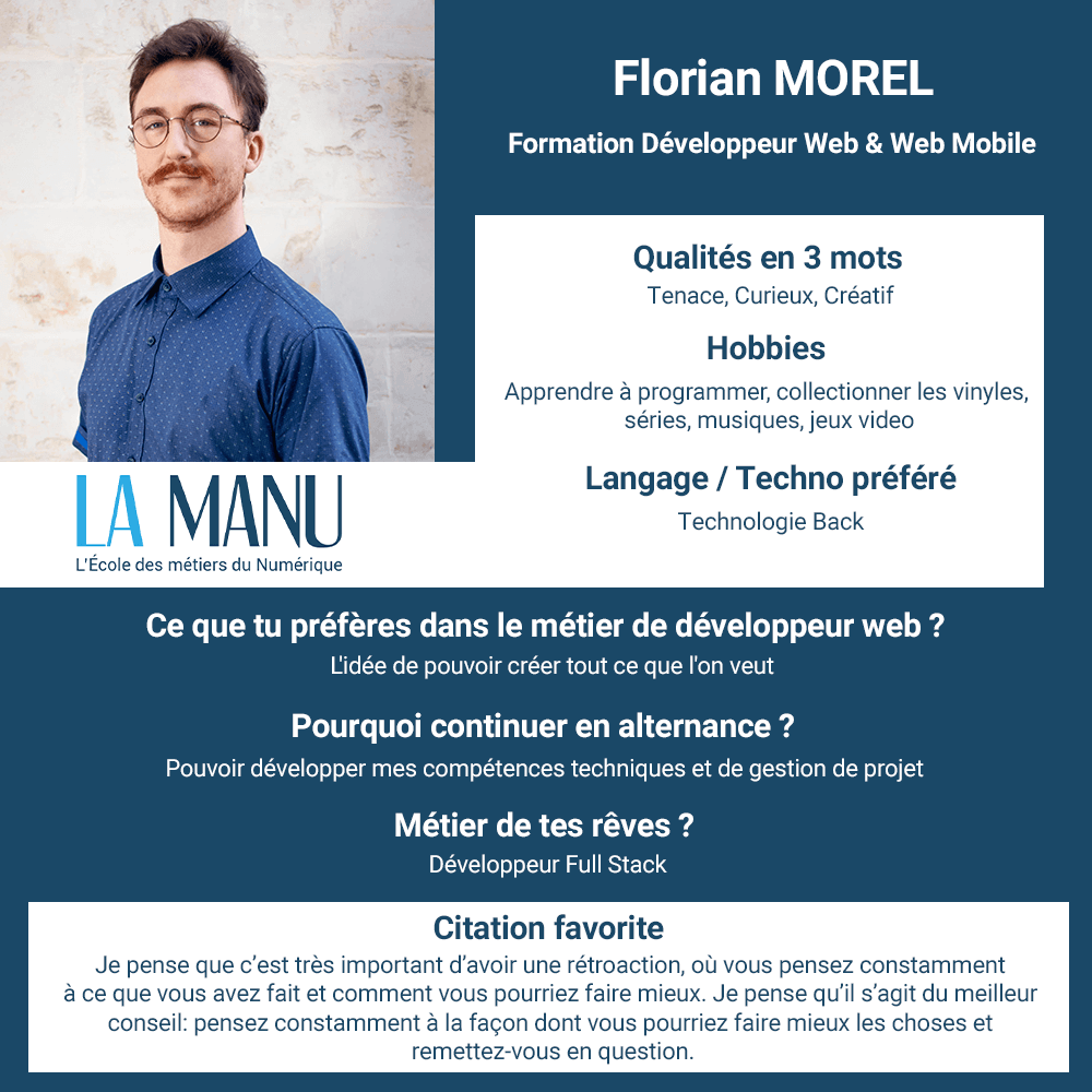 Florian Morel alternance developpeur web concepteur d'applications