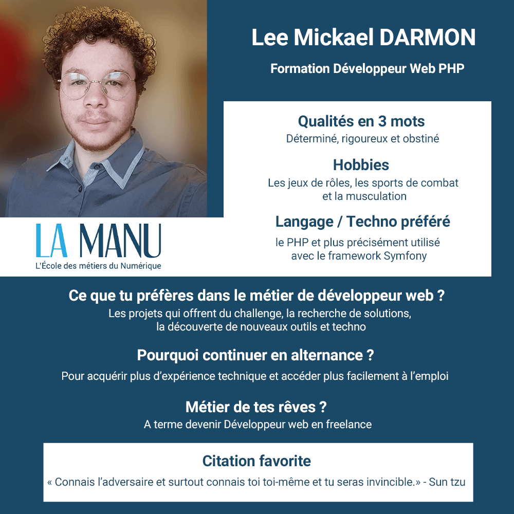 Lee Mickael Darmon alternance developpeur php concepteur